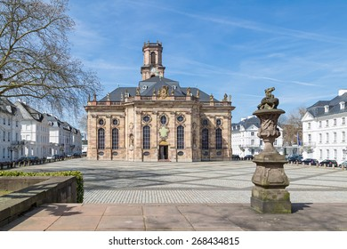 SAARBRUCKEN, GERMANY - APRIL 10: The Ludwigskirche in Saarbrucken on a sunny spring day. April 10, 2015 in Saarbrucken, Germany