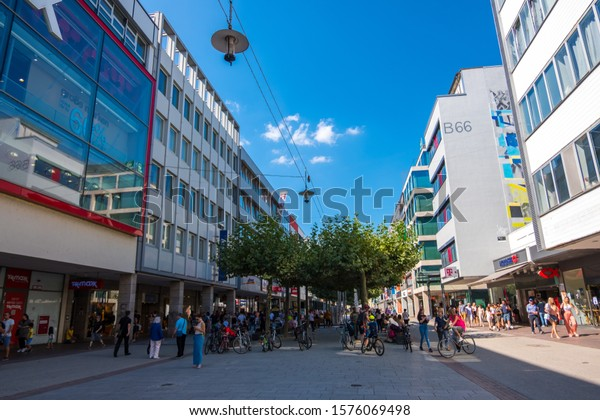 Saarbrucken, Germany - August 31, 2019: Shopping pedestrian street in the historic Old town of Saarbrucken, Saarland, Germany