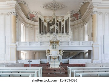 SAARBRUECKEN, GERMANY - AUG 5, 2018: inside the  Ludwigskirche Church in Saarbruecken, Germany. The architect  Friedrich Joachim Stengel started in 1762 building the church.