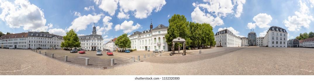 SAARBRUECKEN, GERMANY - AUG 5, 2018: panoramic outside view to  castle in Saarbruecken under blue sky