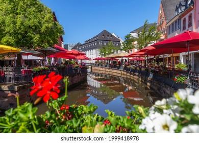 Saarburg city center, Am Markt, Germany in summer
