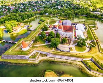 Saarema Island, Estonia: aerial top view of Kuressaare Episcopal Castle in the summer