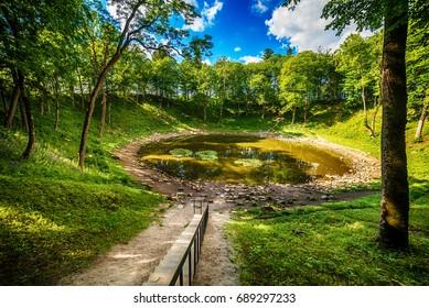 Saarema Island, Estonia: the main meteorite crater in the village of Kaali