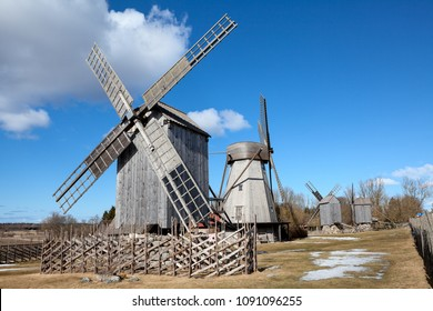 SAAREMAA, ESTONIA - CIRCA MAR, 2018: Typical trestle wooden windmills are in open air museum. Angla Windmill Mount is on Saaremaa island