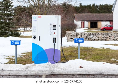 SAAREMAA, ESTONIA-CIRCA MAR, 2018: One of quick charging points of Elmo network is in countryside. Elmo is Estonian electromobility programme consists of infrastructure for charging electric car