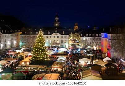 Saarbrücken Saarland Traditional Chirstmas Market in front of Saarbrücker Schloss with old townhall