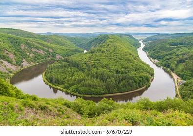 Saarschleife near Mettlach in the Saarland Germany.