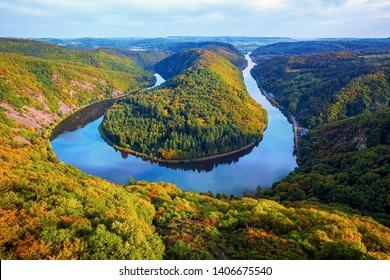 Saarschleife (river Saar loop) in Mettlach, Saarland, view from Cloef. Saar loop is one of natural wonders in Germany.