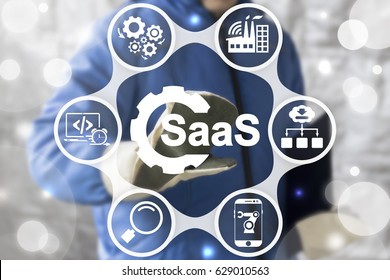 SAAS Computing IOT Industry 4.0 Development Concept. Industrial worker touched gear SaaS icon on virtual screen. Software as a service in manufacturing.