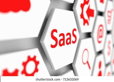 SaaS concept cell blurred background 3d illustration