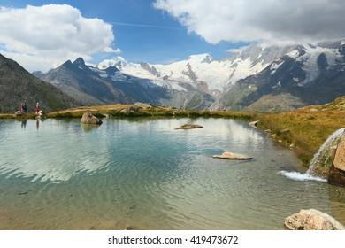 Saas Grund, view of the lake from the Kreuzboden, Switzerland