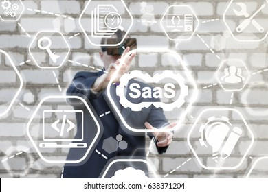 SAAS (Software As A Service) Business 3D Development Concept. Man in vr glasses offers icon cogwheels SaaS on virtual screen on background of network agility developing icons. Flexible develop support