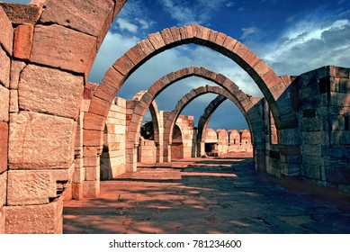 'Saat Kamaan' (Seven Arches) a historical architectural marvel at Pavagadh, Champaner Archeological Park in Gujarat State of India. This has been declared as a UNESCO World Heritage Site.
