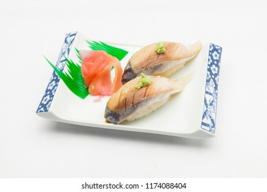 Saba Bouzushi Nigiri, Sushi Saba served on traditional Japanese food on ceramic dish, Japanese food style, Japanese menu, Saba sushi on white background, selective focus