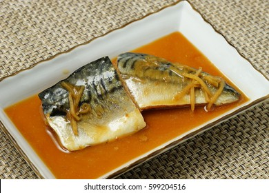 Saba fish in miso sauce; Japanese cuisine