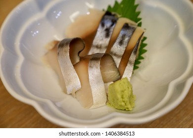 saba sashimi with wasabi on plate