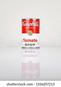 SABADELL, SPAIN-NOVEMBER 11, 2019: Can of Campbell's Tomato Soup, 2019 design, reflection imagine