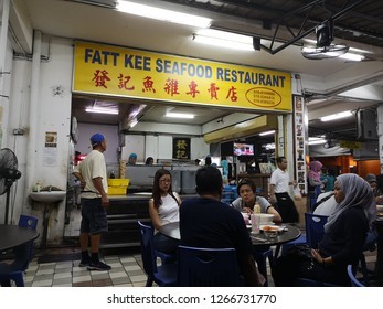 SABAH, MALAYSIA - 25 DEC 2018 - Fatt Kee Seafood Restaurant, a well known eateries in Kota Kinabalu, is famous for its Tom Yam fish noodle and tomato soup fish noodle.