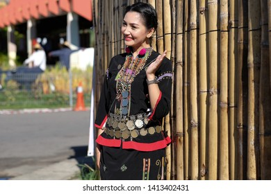 Sabah Malaysia.May 30, 2019 : Beautiful young lady in traditional costume during Pesta Kaamatan. Pesta Kaamatan or Harvest Festival is a major celebration in Sabah.