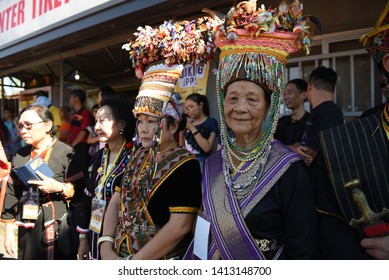 Sabah Malaysia.May 30, 2019 : Group of Sabah tribe people in traditional costume during Pesta Kaamatan. Pesta Kaamatan or Harvest Festival is a major celebration in Sabah.