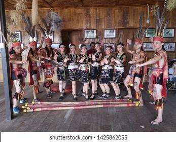 Sabah Malaysia.May 30, 2019 : Group of murut tribe in traditional costume during Pesta Kaamatan. Pesta Kaamatan or Harvest Festival is a major celebration in Sabah.