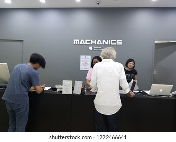 Sabah, Malaysia -6 November 2018: Apple user come the service center to repair their apple product. The image contain soft focus, noise and grain.