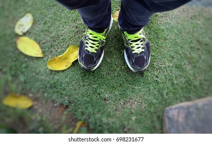 Sabah, Malaysia - August 17, 2017 : Person wearing sports shoes with blur background