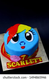 Sabah, Malaysia - August 24, 2019:My little pony inspired cake using fondant icing. My Little Pony is an entertainment franchise developed by Hasbro, originally as a toy line for girls.