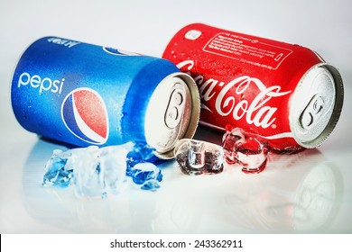 SABAH, MALAYSIA - JANUARY 09, 2015 : Coca-Cola and Pepsi Cans isolated On White