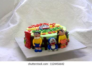 Sabah, Malaysia : June 30, 2018:Doraemon inspired kids cake.