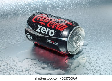 SABAH, MALAYSIA - March 18, 2015: Coca-Cola Zero Can on metal background.