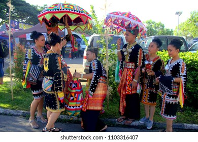 Sabah, Malaysia - May 30, 2018: Colorful Sabah native wearing their costume during the Kaamatan Celebration or harvest festival.