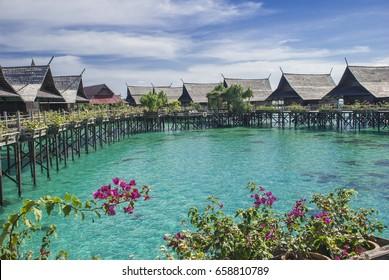 SABAH, MALAYSIA - OCTOBER 19, 2013: Kapalai floating resort, a popular destination for diving in Sabah, Malaysia.