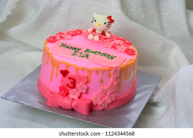Sabah, Malaysia-July 1, 2018:Hello Kitty inspired cake for girl's birthday party.