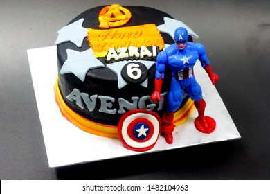 Sabah, Malaysia-July 19, 2019: Avengers Captain America inspired cake for kid birthday party.