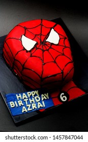 Sabah, Malaysia-July 22, 2019: Spider man inspired cake for kids birthday party.
