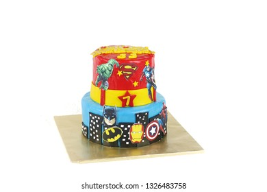 Sabah, Malaysia-March 1, 2019 : Superhero theme cake two tier for kids birthday party.