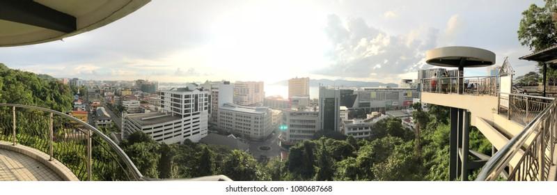 SABAH,MALAYSIA-April 27,2018 : View of Kota Kinabalu city, the capital of the state of Sabah Borneo, Malaysia. It is a major tourist destination and a popular gateway to visit Sabah & Borneo Island.