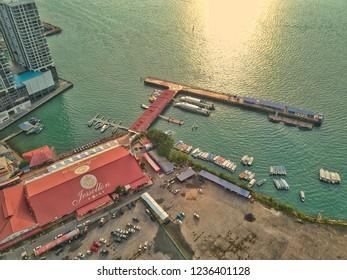 SABAH,MALAYSIA-NOV 16,2018 : View of Kota Kinabalu city, the capital of the state of Sabah Borneo, Malaysia. It is a major tourist destination and a popular gateway to visit Sabah & Borneo Island.