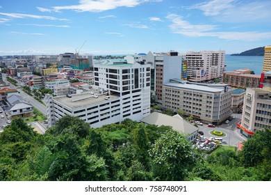 SABAH,MALAYSIA-Nov 19,2017 : View of Kota Kinabalu city, the capital of the state of Sabah Borneo, Malaysia. It is a major tourist destination and a popular gateway to visit Sabah & Borneo Island.