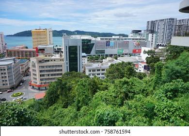 SABAH,MALAYSIA-Nov 20,2017 : View of Kota Kinabalu city, the capital of the state of Sabah Borneo, Malaysia. It is a major tourist destination and a popular gateway to visit Sabah & Borneo Island.