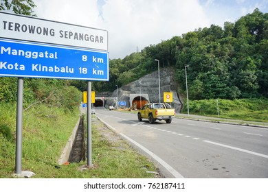 SABAH,MALAYSIA-Nov 25,2017 : Sepanggar Tunnel in Kota Kinabalu,Sabah.The 600metre Sepanggar Tunnel is a dual carriageway which shortens the travel distance between Sepanggar port and the state capital