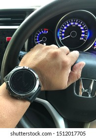 Sabah,Malaysia-Sept 21,2019:Photo of Garmin Fenix 6X sport watch.It is a smart multi sport training GPS watch with feature sets for fitness training for outdoor and indoor sports.