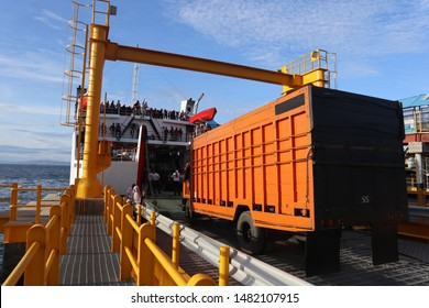 Sabang, Indonesia - August 13 2019: Ferryboat activities in the morning