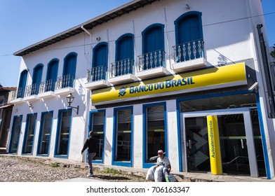 SABARA, MINAS GERAIS / BRAZIL - JUNE 18, 2016: A Banco do Brasil (Bank of Brazil in portuguese) agency working in a colonial building at Mestre Caetano street.