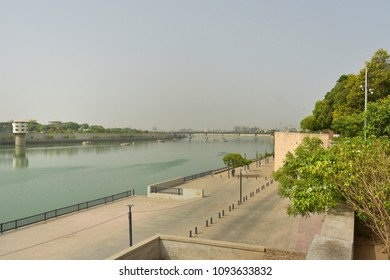 Sabarmati river and the riverfront: view from the Gandhi Ashram, Sabarmati, Ahmedabad, Gujarat.