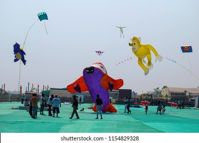 SABARMATI RIVERFRONT, AHMEDABAD, GUJARAT, INDIA, January 2018, People at International Kite Festival