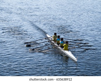 SABAUDIA - APRIL 23: A group of four men row on a coxless four during a local competition on April 23, 2017 in Sabaudia (Italy)