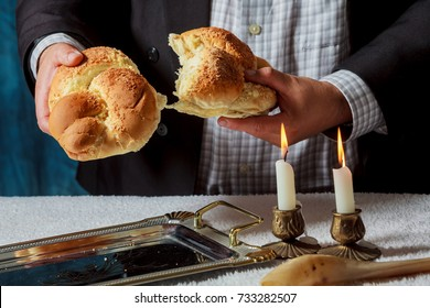 Sabbath image candlesticks with lit candles, and challah, kiddush, sabbath, food, jewish kosher prayer