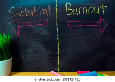 Sabbatical or Burnout written with color chalk concept on the blackboard